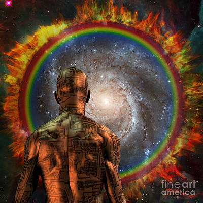 Surrealism Digital Art Rights Managed Images - Cyborg before the space portal Royalty-Free Image by Bruce Rolff