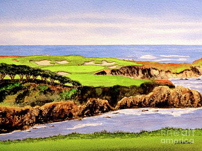 Sports Paintings - Cypress Point Golf Course 16th Hole by Bill Holkham
