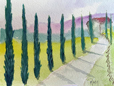 Painting - Cypress Trees Landscape by Roxy Rich