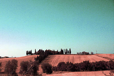 Surrealism Digital Art - Cypresses in Tuscany Landscape , Paesaggio Toscano Italy - Surreal Art by Ahmet Asar by Celestial Images