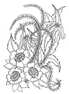 Animals Drawings - Daisies by Jennifer Wheatley Wolf