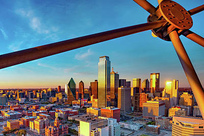 Royalty-Free and Rights-Managed Images - Dallas Skyline From The Observation Deck of Reunion Tower at Sunset by Gregory Ballos