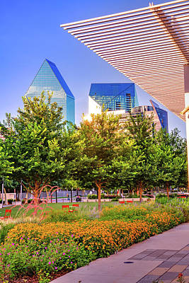 Amy Weiss - Dallas Texas Skyline From Klyde Warren Park by Gregory Ballos