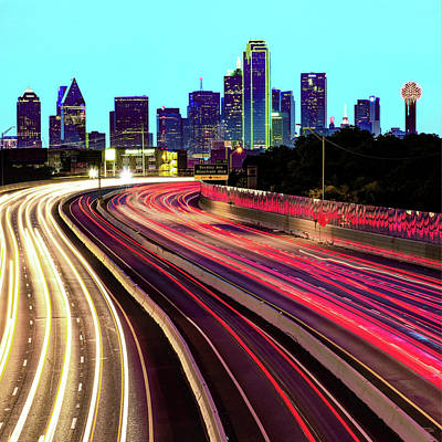 Royalty-Free and Rights-Managed Images - Dallas Texas Skyline Lights 1x1 by Gregory Ballos