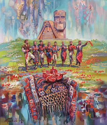 Painting - Dance in Artsakh  by Meruzhan Khachatryan