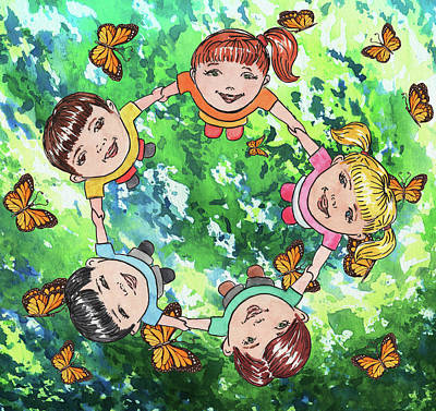 Royalty-Free and Rights-Managed Images - Dancing With Butterflies Kids Happy Circle Watercolor  by Irina Sztukowski