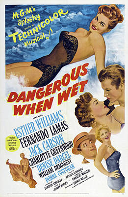Personalized Name License Plates - Dangerous When Wet, with Esther Williams and Fernando Lamas, 1953 by Stars on Art