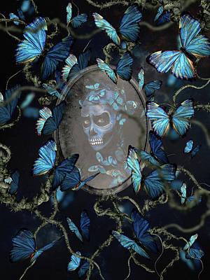 Surrealism Digital Art - Dark portrait with blue butterflies by Mihaela Pater