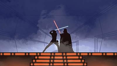 Monochrome Landscapes - Darth Vader Vs Luke Skywalker Lightsabre Battle  by Michael Stout
