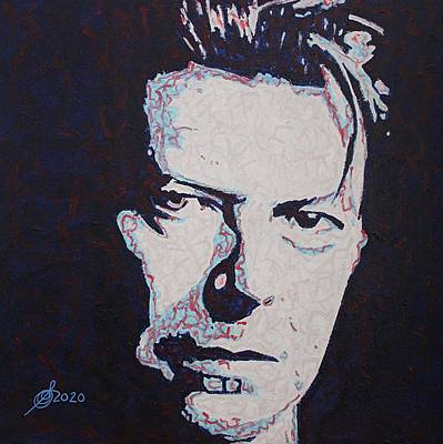 Music Paintings - David Bowie original painting by Sol Luckman