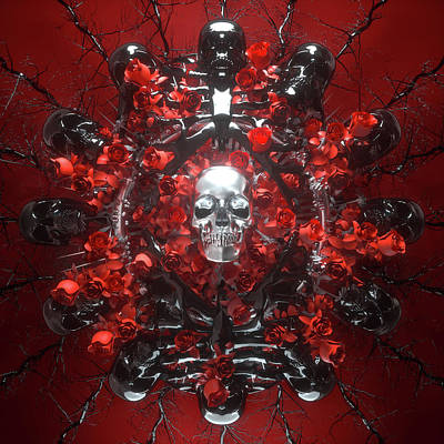Surrealism Royalty-Free and Rights-Managed Images - Death and Roses by Simon Brough