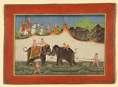 Animals Paintings - Deccan Painting possibly Machilipatnam Style The emperor Akbar watching an elephant fight c 1780 by Artistic Rifki