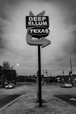 Photo Royalty Free Images - Deep Ellum Texas Neon Sign - Vintage Monochrome Dallas Royalty-Free Image by Gregory Ballos