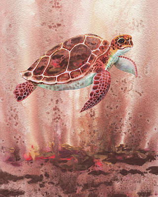 Royalty-Free and Rights-Managed Images - Deep Sea Brown Giant Turtle Watercolor  by Irina Sztukowski