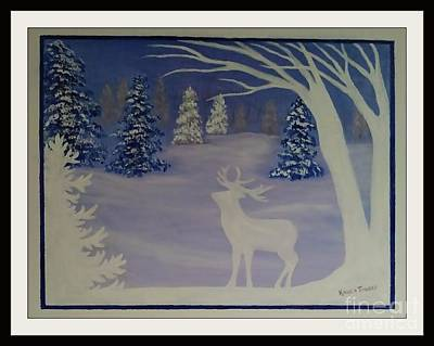 Popstar And Musician Paintings - Deer And Snow Forest by Karen Tauber