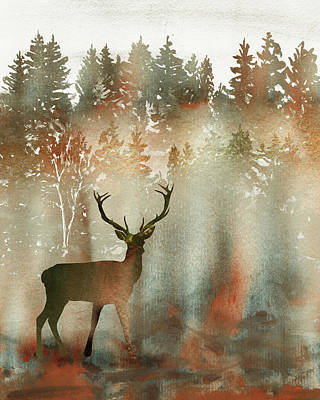 Whats Your Sign - Deer Buck In Fall Forest Watercolor Silhouette  by Irina Sztukowski