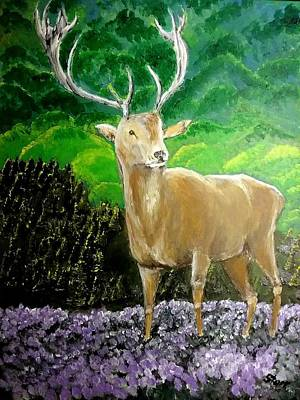 Going Green - Deer In Scotland by Irving Starr