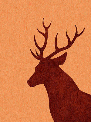 Royalty-Free and Rights-Managed Images - Deer Silhouette - Scandinavian Nursery Decor - Animal Friends - For Kids Room - Minimal by Studio Grafiikka