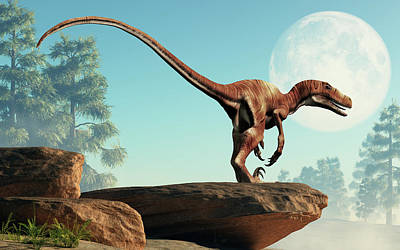 Royalty-Free and Rights-Managed Images - Deinonychus on a Cliff by Daniel Eskridge