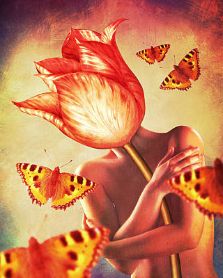 Surrealism Digital Art - Delicate red tulip by Mihaela Pater