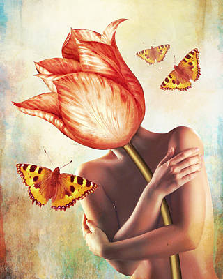 Surrealism Digital Art Rights Managed Images - Delicate tulip Royalty-Free Image by Mihaela Pater