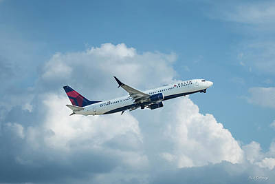 Comic Character Paintings - Delta Jet N907DN Taking Off Hartsfiels-Jackson Atlanta International Airport Art by Reid Callaway