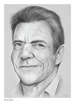 Drawings Royalty Free Images - Dennis Quaid - pencil Royalty-Free Image by Greg Joens
