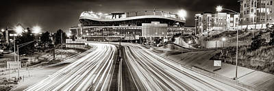 Sports Royalty-Free and Rights-Managed Images - Denver Colorado Mile High Stadium Panorama - Sepia Monochrome by Gregory Ballos