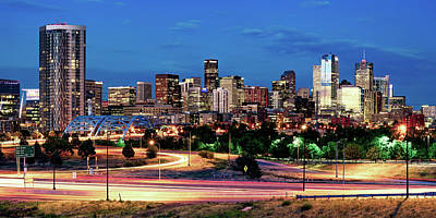 Royalty-Free and Rights-Managed Images - Denver Colorado Panoramic Cityscape Over the Speer Boulevard Bridge by Gregory Ballos