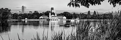 Kitchen Food And Drink Signs - Denver Skyline Panorama Over City Park Lake in Black and White by Gregory Ballos
