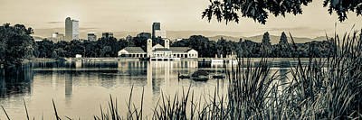 Kitchen Food And Drink Signs - Denver Skyline Panorama Over City Park Lake in Sepia by Gregory Ballos
