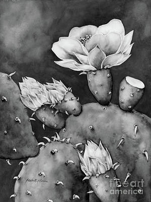 Classical Masterpiece Still Life Paintings - Desert Bloom in Black and White by Hailey E Herrera