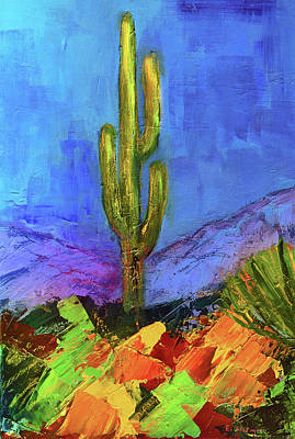 Landmarks Painting Royalty Free Images - Desert Giant Royalty-Free Image by Elise Palmigiani