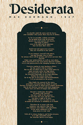 Royalty-Free and Rights-Managed Images - Desiderata by Max Ehrmann - Literary prints 03 - Typography - Go Placidly Poem - Book Lover gifts by Studio Grafiikka