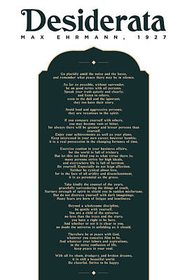 Achieving - Desiderata by Max Ehrmann - Literary prints 04 - Typography - Go Placidly Poem - Book Lover gifts by Studio Grafiikka