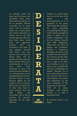 Royalty-Free and Rights-Managed Images - Desiderata, Max Ehrmann - Typography Print 29 - Literary Poster by Studio Grafiikka