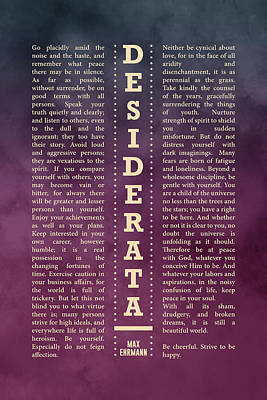 Royalty-Free and Rights-Managed Images - Desiderata, Max Ehrmann - Typography Print 30 - Literary Poster by Studio Grafiikka