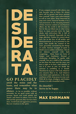 Royalty-Free and Rights-Managed Images - Desiderata, Max Ehrmann - Typography Print 35 - Literary Poster by Studio Grafiikka