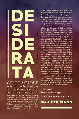 Royalty-Free and Rights-Managed Images - Desiderata, Max Ehrmann - Typography Print 36 - Literary Poster by Studio Grafiikka