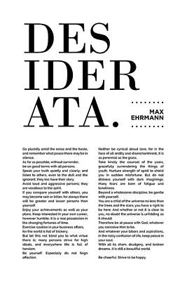 Mixed Media Royalty Free Images - Desiderata Print - Max Ehrmann - Typography - Literary Poster 16 Royalty-Free Image by Studio Grafiikka