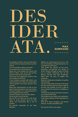 Royalty-Free and Rights-Managed Images - Desiderata Print - Max Ehrmann - Typography - Literary Poster 17 by Studio Grafiikka