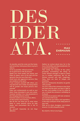 Royalty-Free and Rights-Managed Images - Desiderata Print - Max Ehrmann - Typography - Literary Poster 20 by Studio Grafiikka