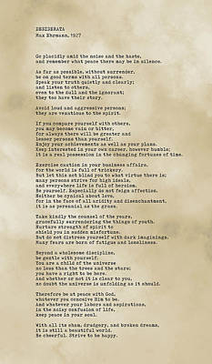 Royalty-Free and Rights-Managed Images - Desiderata Print on Antique Paper - Max Ehrmann - Literary Poster 09 by Studio Grafiikka