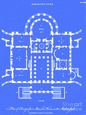 Drawings Royalty Free Images - design for a modern Mansion i2 Royalty-Free Image by Historic illustrations