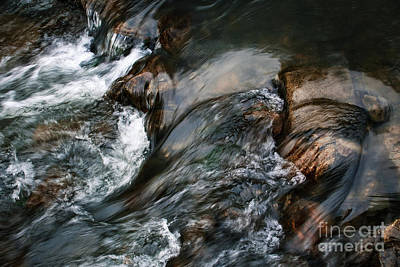 Landscapes Royalty-Free and Rights-Managed Images - Detail of fast flowing dark river by Jozef Jankola