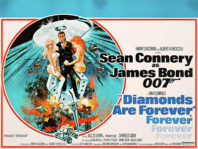 Mixed Media Royalty Free Images - Diamonds are Forever movie poster 1971 Royalty-Free Image by Stars on Art
