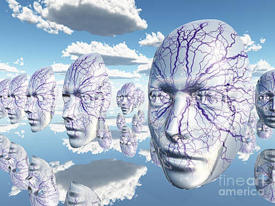 Surrealism Digital Art - Diembodied faces hover in surreal scene by Bruce Rolff