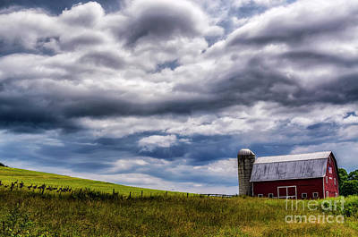 Sara Habecker Folk Print - Different Perspective Barn and Cloudscape by Thomas R Fletcher