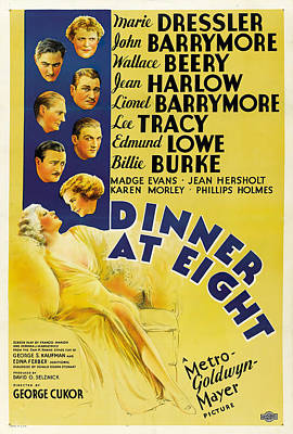 Royalty-Free and Rights-Managed Images - Dinner at Eight, with Jean Harlow and John Barrymore, 1933 by Stars on Art
