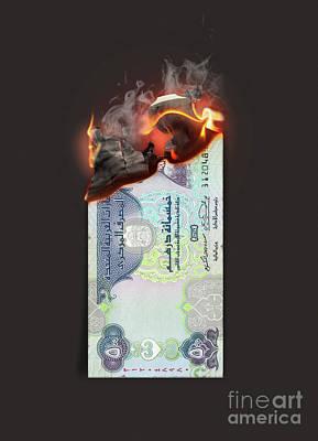 Claude Monet - Dirham Burning Cash Note by Allan Swart